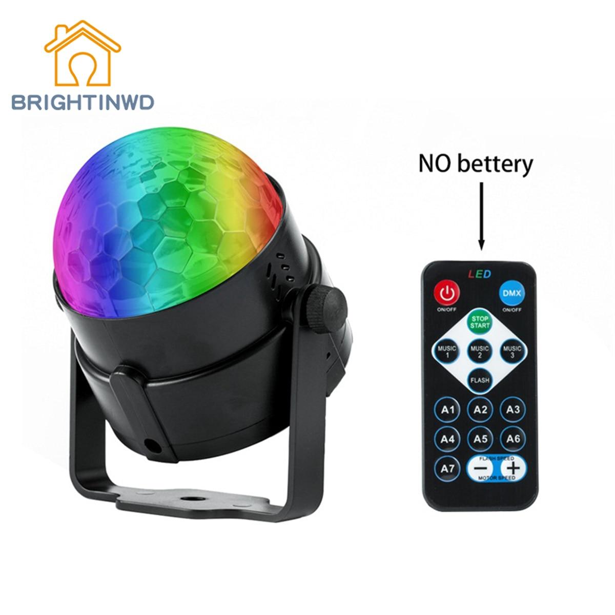 BRIGHTINWD DJ Club Effect Light RGB LED Crystal Disco Ball Strobe Party Lights With Remote Control Rotating Stage Lights Dj