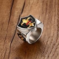 Mprainbow Vintage Mens Rings Stainless Steel Royal Fleur De Lis Triple Shield Ring Men Shield Wide