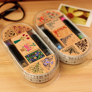 New vintage flowers angle lace wooden stamp One set=7pcs stamps + 2 free ink pad pen new 220v photosensitive portrait flash stamp machine kit self inking stamping making seal holder film pad no ink