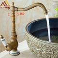 32823936756 - Grifo mezclador de lavabo de latón antiguo montado en cubierta con mango de cerámica grifo mezclador de cara de agua caliente y fría