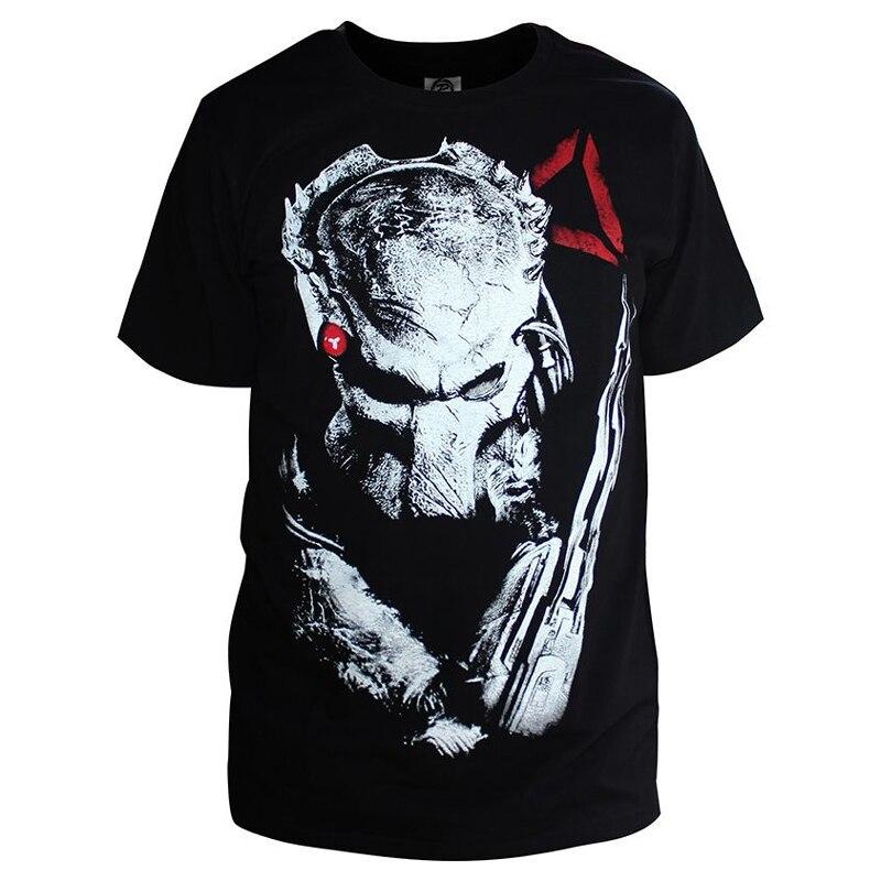 Predators Men Summer T-shirt Printing Design Cotton Casual Short Sleeve T shirts Alien Hunter Primevil Tops Tees Plus Size