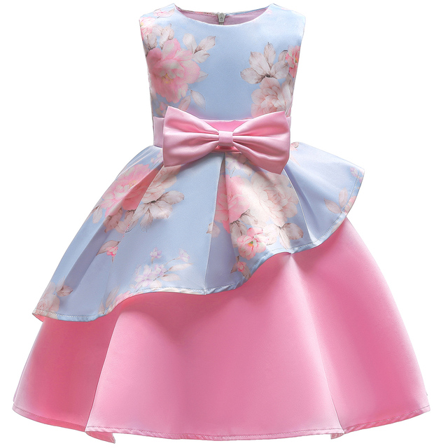 Baby Kids Flower Pretty Birthday Dresses Children Clothing Toddler Wedding Princess Dress Eveving Party Costume Clothes With Bow 5