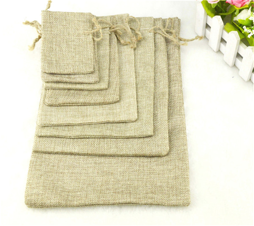 1PC 7Sizes Linen Jute Drawstring Pouch Cotton Christmas Halloween Gift Bags Box Packages For Packaging Wedding Party Candy Bags