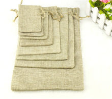 1PC 7Sizes Linen Jute Drawstring Pouch Cotton Christmas Halloween Gift bags Box Packages for Packaging Wedding Party Candy Bags(China)