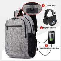 Men Bags Anti theft Backpack Male USB Earphone Business Laptop Backpacks Mochila Fashion Travel Backpack School bags Casual 2018