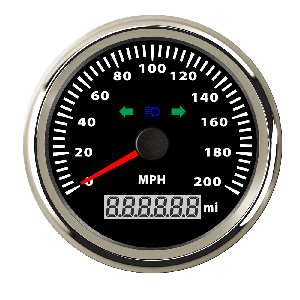 85mm Stainless Steel Speedometer Gauge 120 MPH 200 MPH Speed Gauge fit Car Truck Boat 12V 24V with High Beam LED Blinker цена
