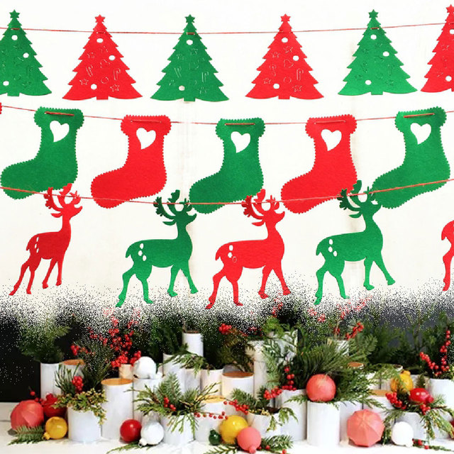 5pcs christmas hanging decorations pull flags pennant diy christmas tree deer hanging bunting banner home decor - Christmas Hanging Decorations