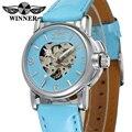 Модные Розовые автоматические женские часы WINNER  механические часы в форме сердца  наручные часы с скелетом
