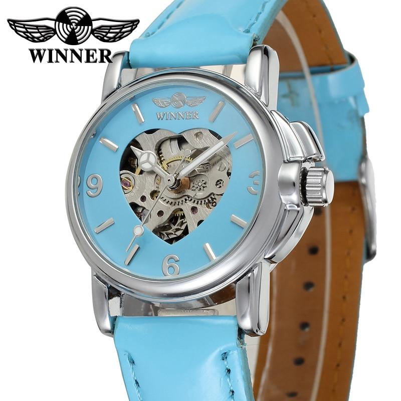 Moda vencedor marca rosa bonito automático relógio feminino vestido mecânico relógio de pulso esqueleto em forma de coração colocação Relógios femininos     - title=