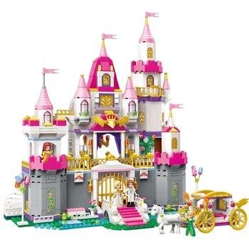 Anak Perempuan Putri Castle Violet Royal Carriag Mobil Blok Bangunan Set Teman Model Batu Bata Mainan Anak Hadiah