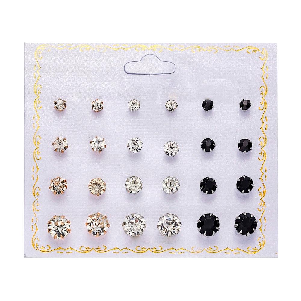 12 pairs set Crystal Simulated Pearl Earrings Set Women Jewelry Accessories Piercing Ball Stud Earring kit