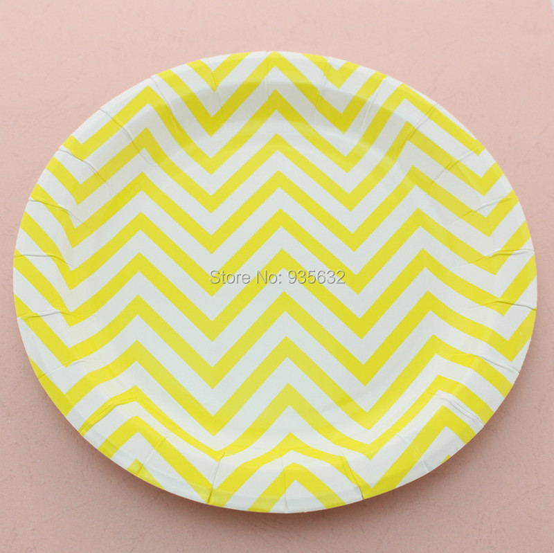 greatdeal 9 yellow chevron round paper plates wholesale in dishes