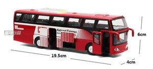Image 5 - 1:32 Модели автомобилей из сплава, высокий симулятор городского автобуса, металлические Литые, игрушечные транспортные средства, тяговый, мигающий и музыкальный, бесплатная доставка