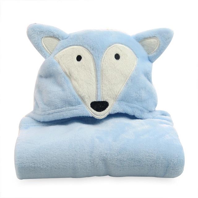 Flanela manto com cap crianças toalha azul raposa dos desenhos animados em forma de animais do bebê manto Manto