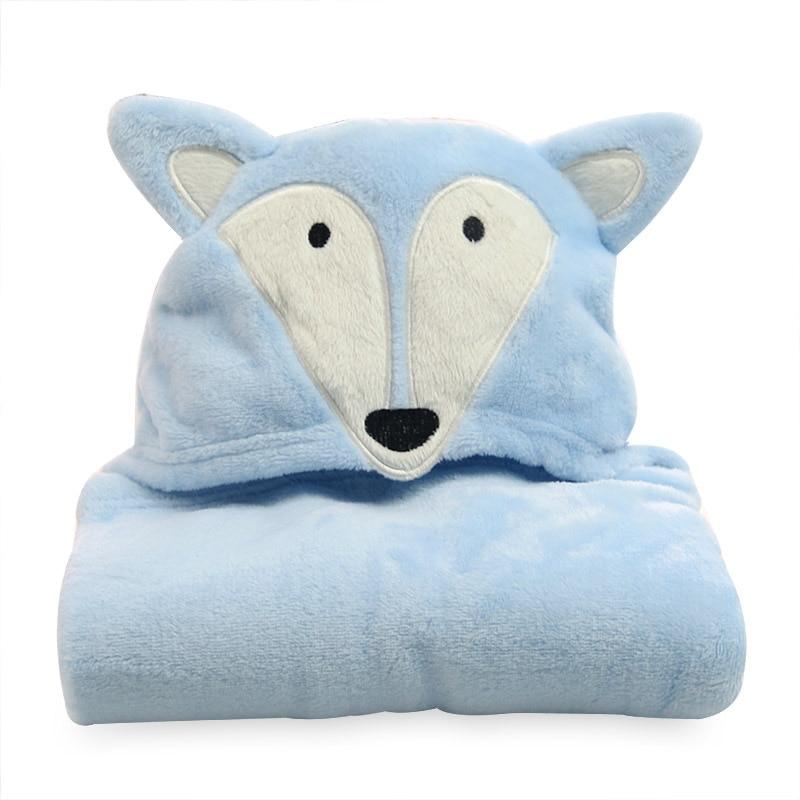 Flannel cloak with cap children towel cartoon animal shaped blue fox baby cloak Cloak