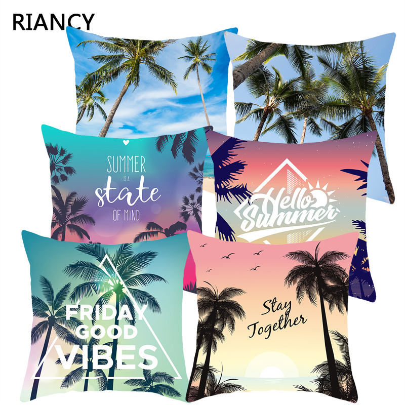45*45 Tropical Sofa Decorative Cushion Covers Polyester Throw Pillow Home Decor Summer Beach Sea Coconut Tree Pillowcase 40822