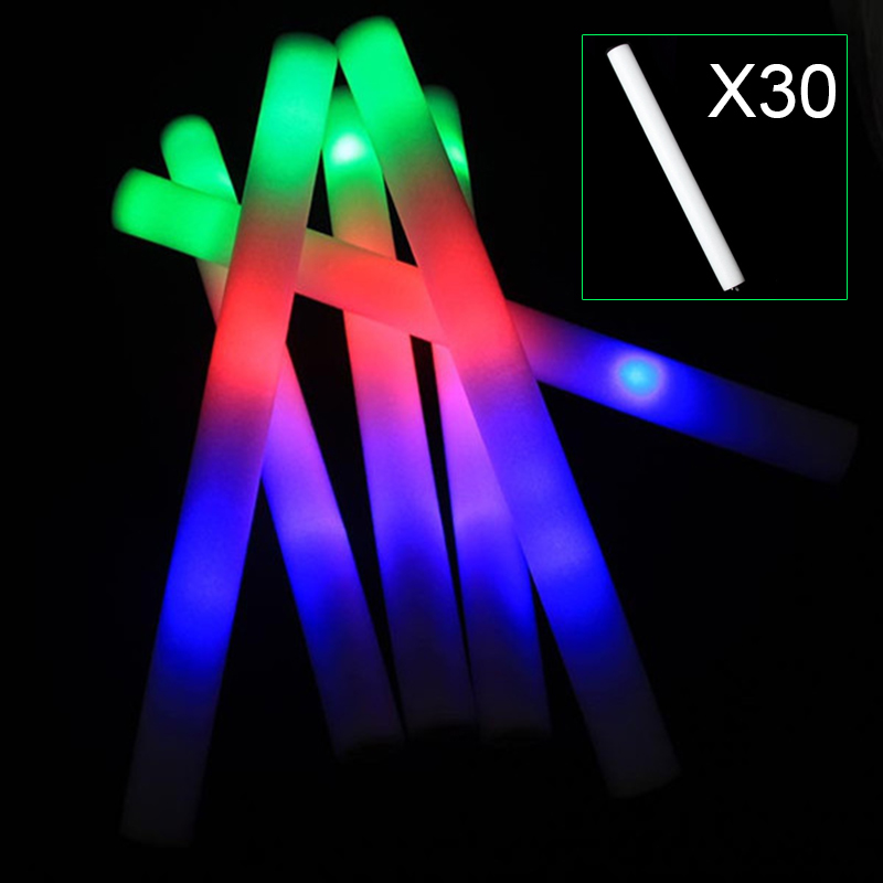 30pcs Light Up Multi Color LED Foam Stick Wands Rally Rave Cheer Batons Party Flashing Glow Stick Light Sticks Sale M09