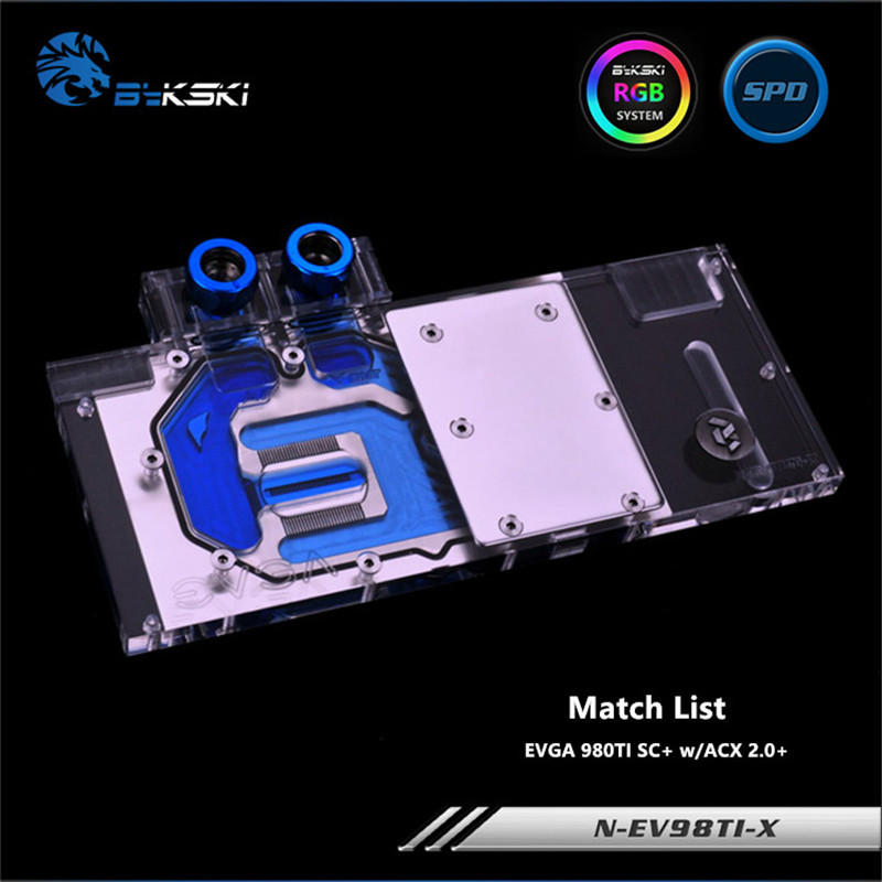 цены Bykski Full Coverage GPU Water Block For EVGA 980TI SC+ w/ACX 2.0+ Graphics Card N-EV98TI-X