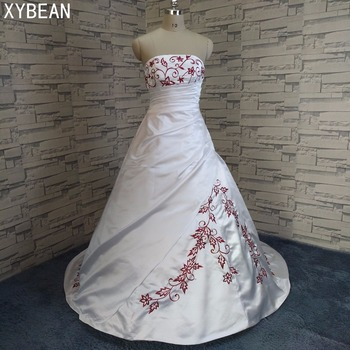 2019 Free Shipping Beading embroidery A line Strapless With Train Wedding Dresses