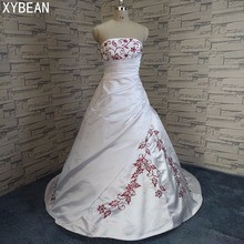 Free Shipping Beading embroidery A line Strapless With Train Wedding Dresses