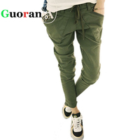{Guoran} Casual Harem Pants Women Elastic Waist Loose Trousers Plus Size 3xl 2xl Femme Pantalon Green Black 2017 ladies leggings