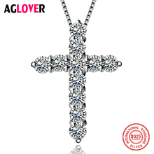 цена на Cross Pendant Necklace 925 Silver Charm Woman Cross Necklace 100% Silver 50cm Chain Fine Jewelry