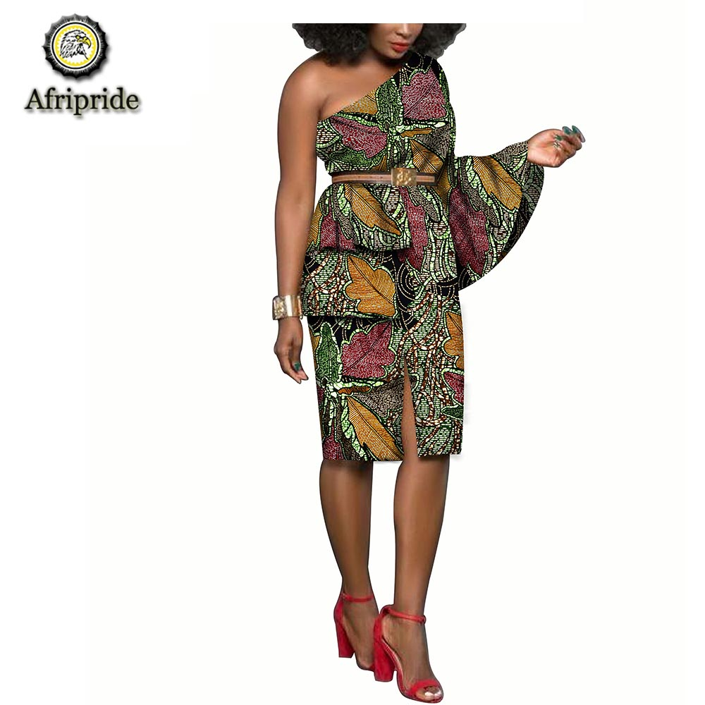 20182019 african dress pure cotton single shoulder dress