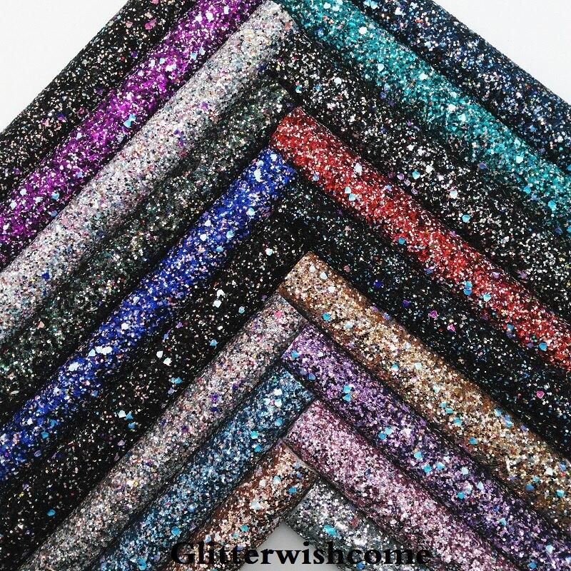 Glitterwishcome 21X29 см A4 Размеры синтетическая кожа, устойчивый блеск кожа искусственная кожа ткань винил для Луки, GM069A