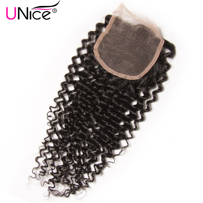 UNICE HAIR Brazilian Curly Lace Closure Free Part Remy Human Hair Closure Swiss Lace 120 Density