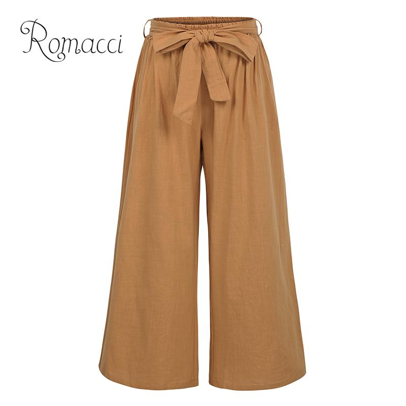 Romacci Women Summer Casual Loose   Wide     Leg     Pants   Elastic Waist Trousers Cotton Linen Long   Pants   Black/Brown/Green Pantalon Femme
