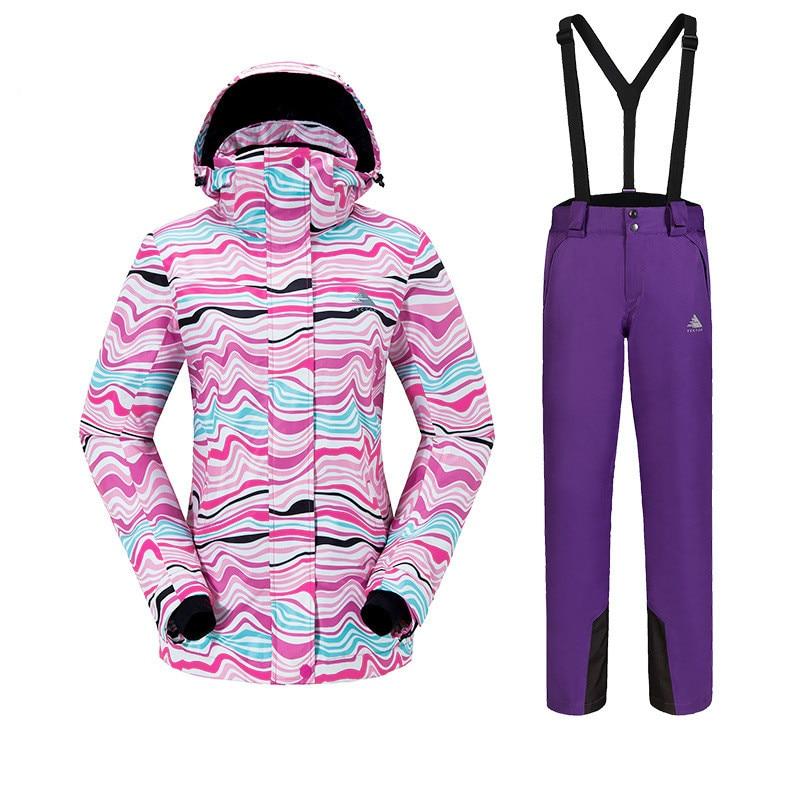 Sports de plein air combinaison de Ski pour femme épaissi chaud respirant imperméable résistant à l'usure séchage rapide veste de ski pantalon de Ski taille S XXL - 3