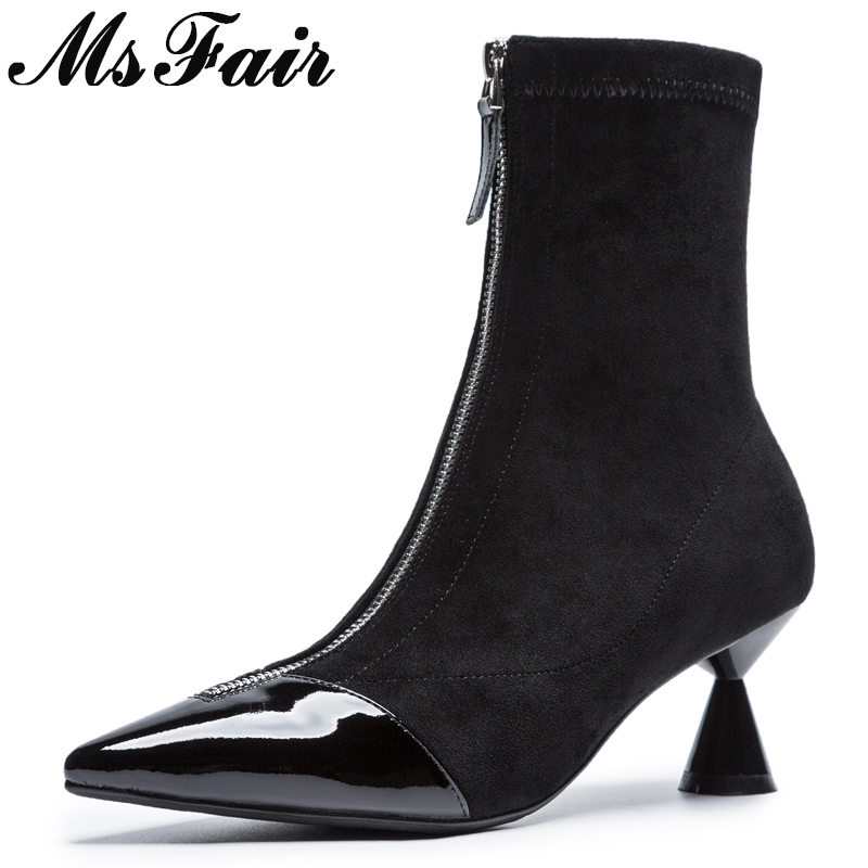 MSFAIR Pointed Toe High Heel Women Boots Casual Fashion Mature Concise High heel Mid Calf Boots Women Shoes Flock Boots Women 2017 winter female high heeled shoes solid high quality women casual boots zipper women mid calf boots pointed toe martin boots