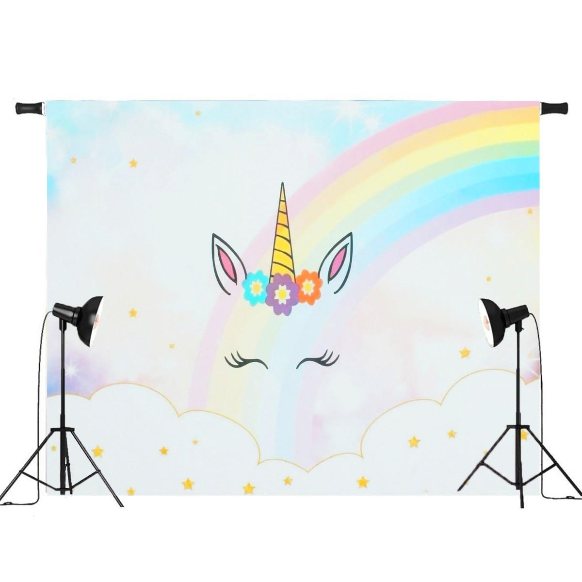 7x5ft/5x3ft Arco Iris nubes cielo para unicornio niños foto fondos Studio props 2018 nueva llegada