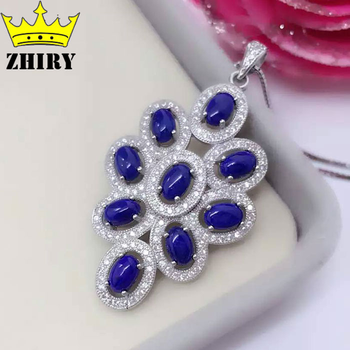 Natural Blue Lapis Gem necklace Pendnat Genuine 925 Sterling Silver Women JewelryNatural Blue Lapis Gem necklace Pendnat Genuine 925 Sterling Silver Women Jewelry