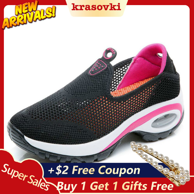 Krasovki Women Sneaker Platform Air mesh Cutout Spring Autumn Summer Sneakers Breathable Comfortable Shoes Ladies