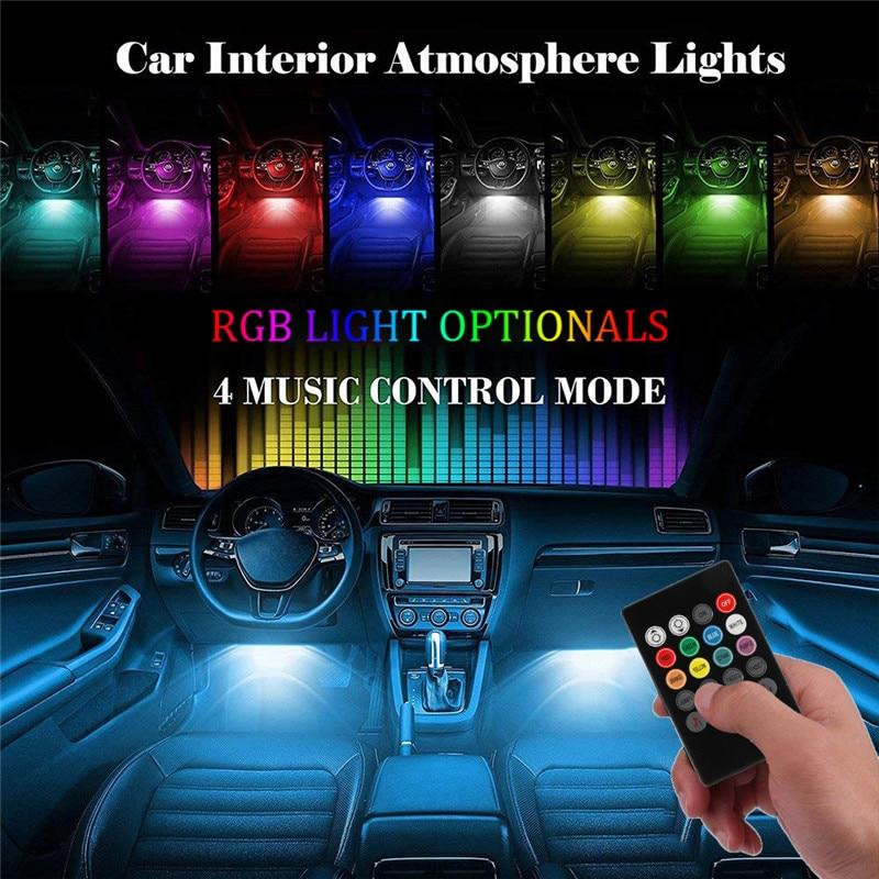 Image 2 - 1Set USB Interior Strip Lamp  9 LED App Control Light Rmote Control floor lights car  Decorative atmosphere lampSignal Lamp   -