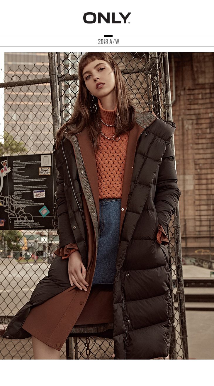 ONLY womens' winter new medium and long black down jacket Partial sill design Hooded collar|118312555 5
