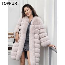 купить TOPFUR Women Real Fur Coat Top Quality Luxury Winter Natural Fox Fur Jacket 90 cm New Style Thick Warm O-Neck Fox Fur Outwear по цене 30272.98 рублей