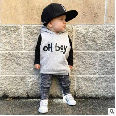 KIDS TALES 2017 Spring and Autumn childrens clothing suit baby clothing boy OH boy cotton long-sleeved pants 2 sets