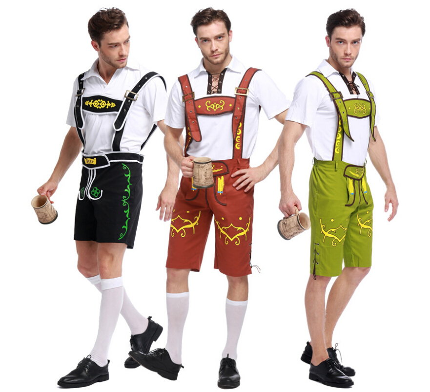 free shipping Germany beer festival costumes Condole belt and pants man styleHalloween cosplay costume 3 colors M-XL