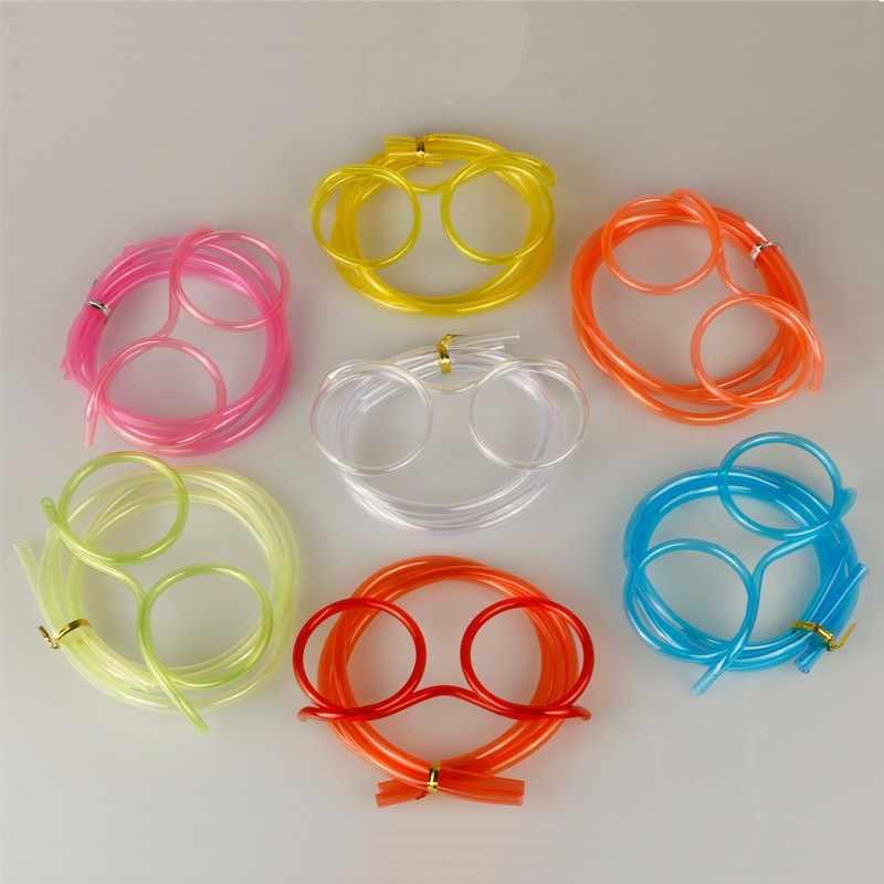 Créatif drôle en plastique souple paille pour enfants fête d'anniversaire jouets Fun lunettes Flexible jouets à boire enfants bébé fête jouets cadeaux