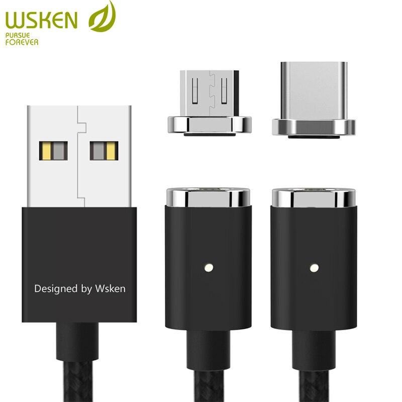 WSKEN Mini2 Cable de carga magnética USB Cable de carga rápida Micro USB tipo C para Samsung Galaxy S9 S8 Note8 S7 S6 Huawei Xiaomi 1 m