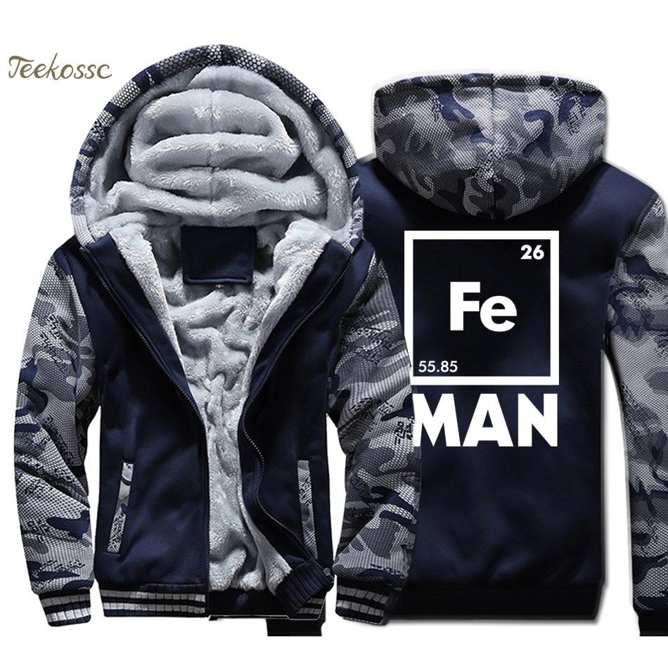 Iron Man Science Hoodie Men Cool Novelty Funny Superhero Hooded Sweatshirt Coat Winter Thick Fleece Warm Camouflage Jacket Mens