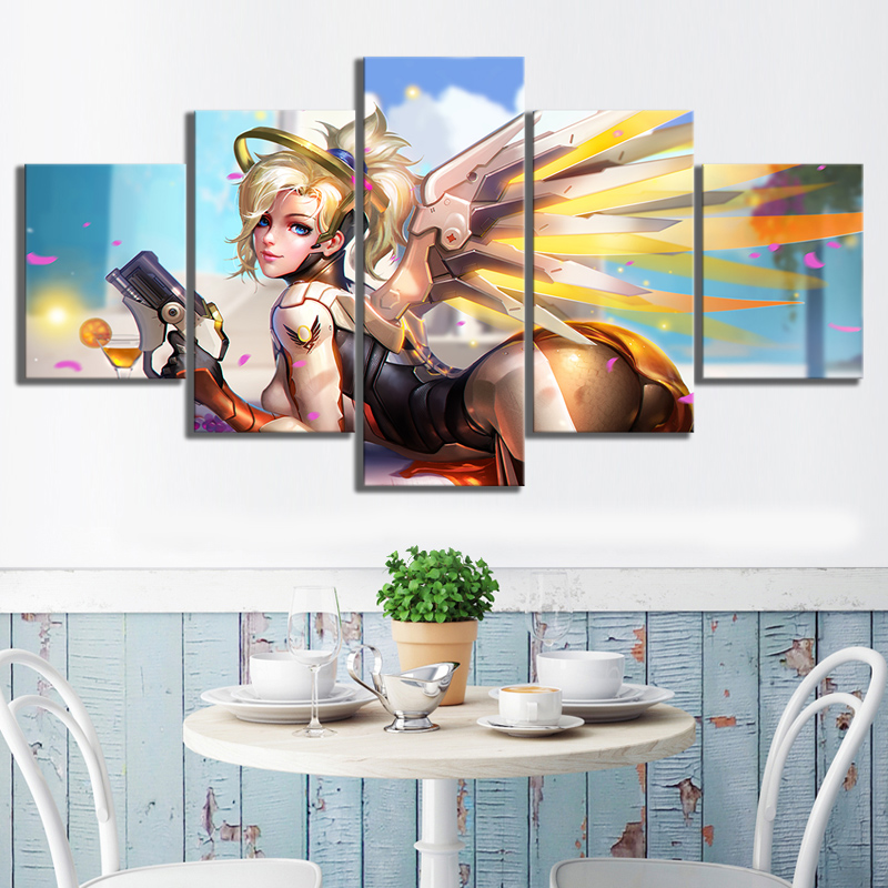 Overwatch game Modern Home Decor HD Print Wall Art Canvas Art For Living Painting Wall Art 5 Piece Home Painting Artwork in Painting Calligraphy from Home Garden
