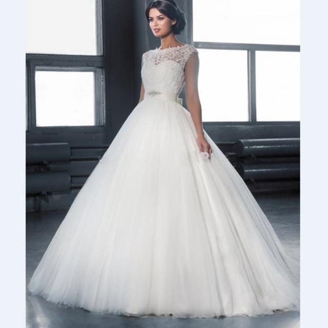 Brautkleider Lace Tüll Prinzessin Vestido De Noiva Satin Gürtel ...