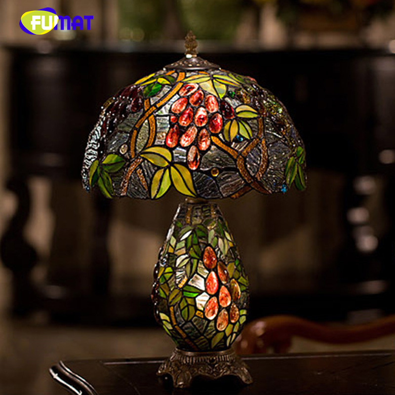 FUMAT Stained Glass Table Lamp Vintage European Style Garden Grape Bedside Art Living Room Hotel Light Fixtures