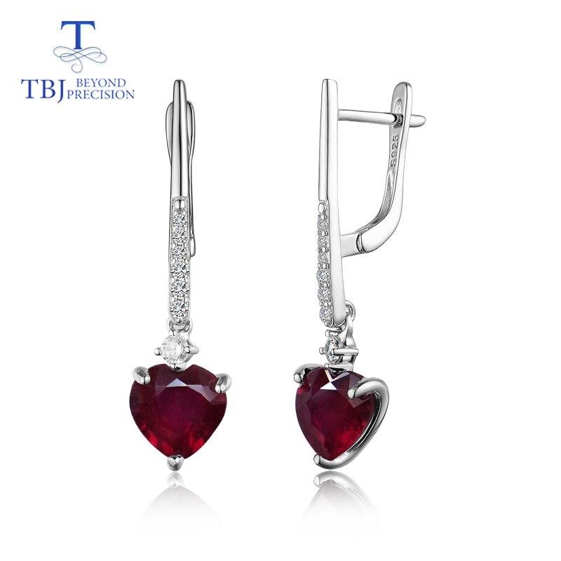 TBJ, naturale buon colore rubino cuore 8mm 925 sterling silver lunga di modo di stile orecchino gioielli per le donne del partito di Nozze usura-in Orecchini da Gioielli e accessori su  Gruppo 1