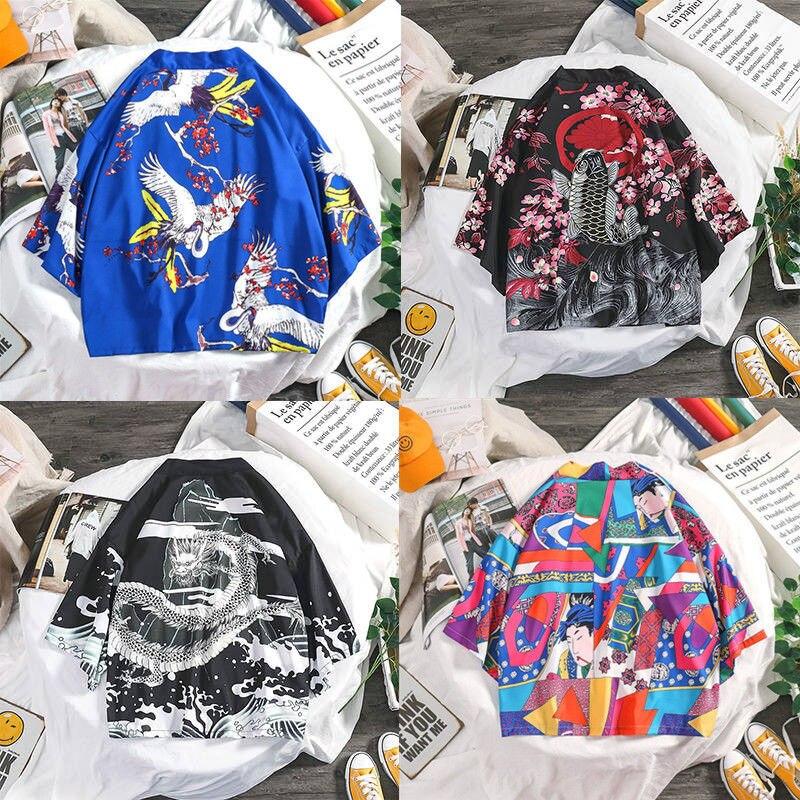 Traditional Japanese Kimonos Cardigan Men Women Sunscreen Thin Loose Printing Summer Kimono Shirt Yukata Asian Clothes