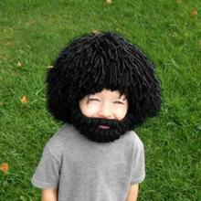 Wig Beard Hat Hobo Mad Scientist Rasta Caveman Handmade Winter Knit Warm unisex Cap Gift Funny