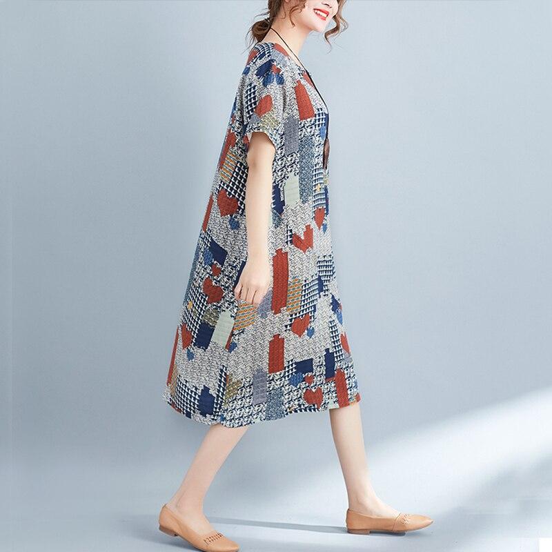 Oladivi Fashion Print Cotton Linen Casual Loose Dess Women Free Style Summer Dresses Ladies Long Shirt Tunic 2018 Vestdidios New